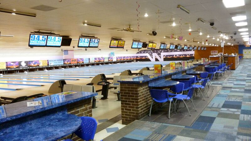 Bowling Lanes and eating tables behind